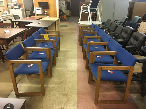 10 Blue Fabric Wooden Guest Chairs
