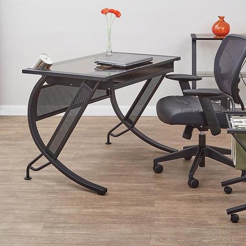42-in Black Computer Tempered Glass Desk