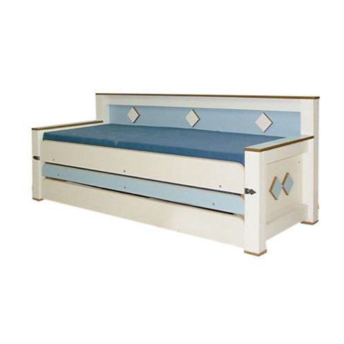 מיטת נוער משולשת עם גב רהיטי הנגר