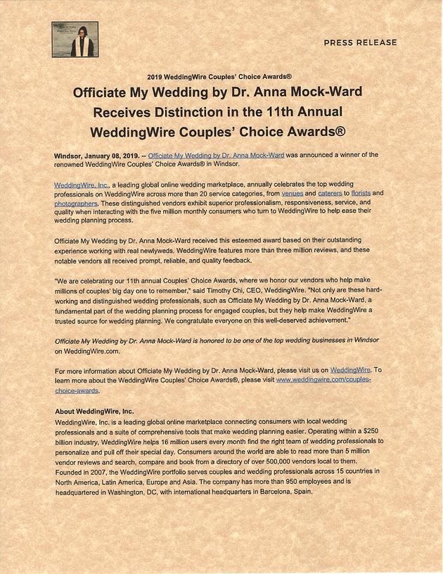 2019 WeddingWire Couple Choice Award | OfficiateMyWedding