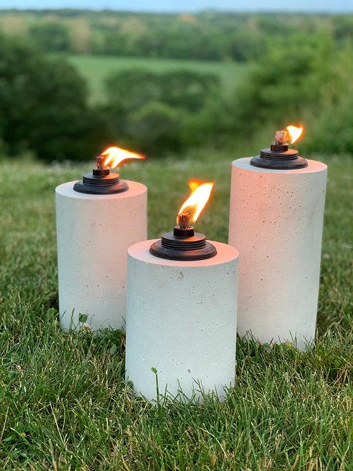 White Concrete Tiki Torches (3-Piece Set)