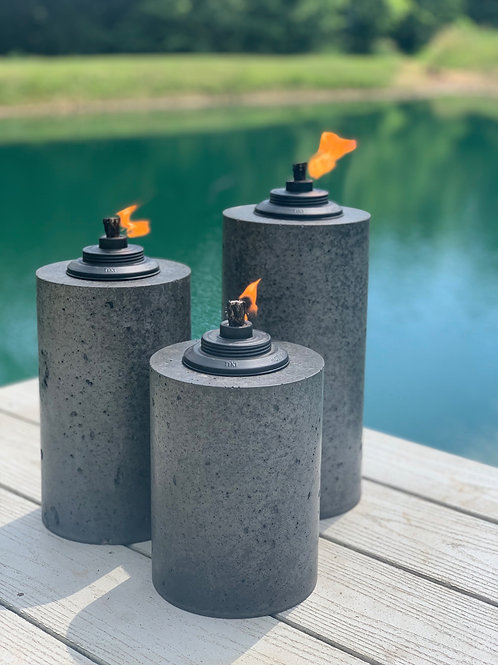 Concrete Tiki Torches (3-Piece Set)
