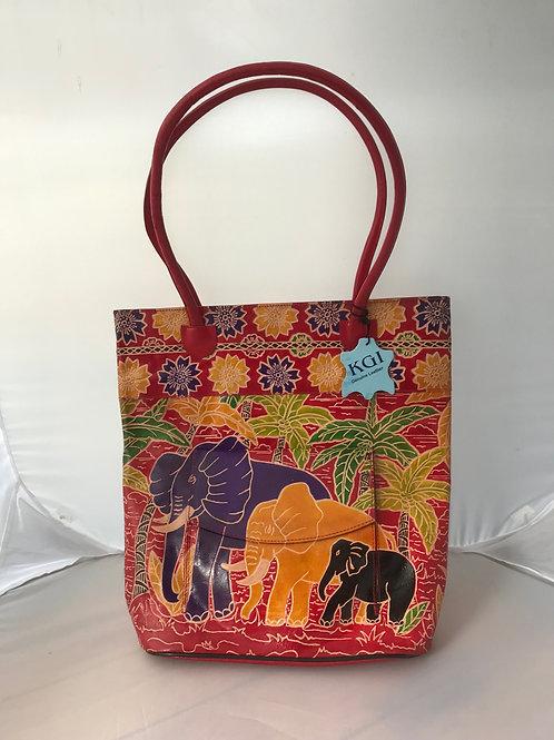 Kikigoga Hand printed Elephant bag, Red