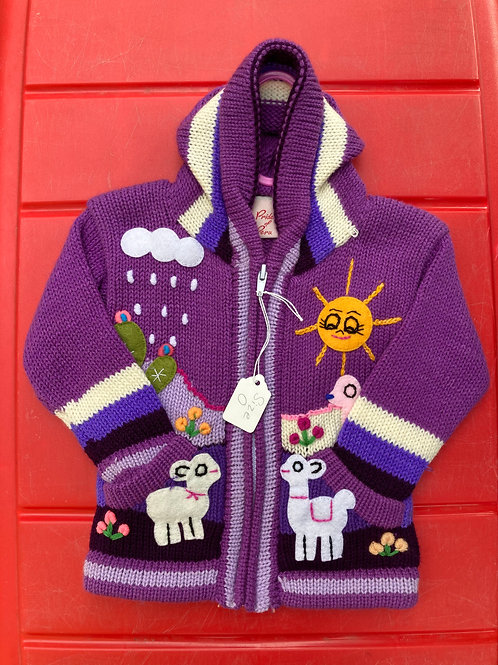 Children's Cardigan, Purple