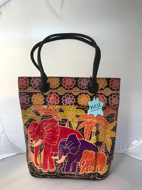 Kikigoga Hand printed Elephant bag, Black