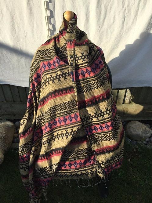 Tibetan Yakwool Shawl Reversible