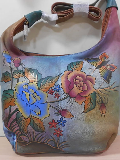 KikiGoga Hand painted leather bag HP 1115 Floral Unique & Rare, Prime Quality