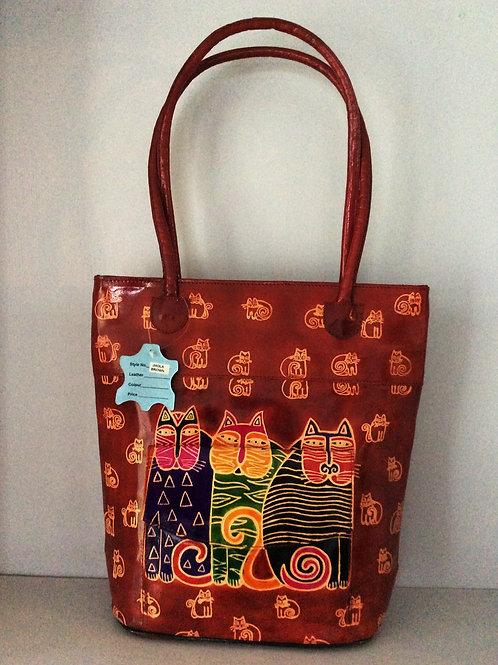 Kikigoga Hand Printer leather bag, cats, Top Quality