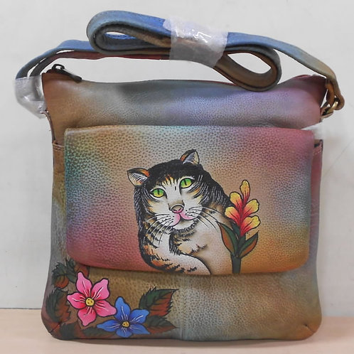 KikiGoga Hand painted leather bag HP 4240 Cat Face Unique & Rare, Prime Quality