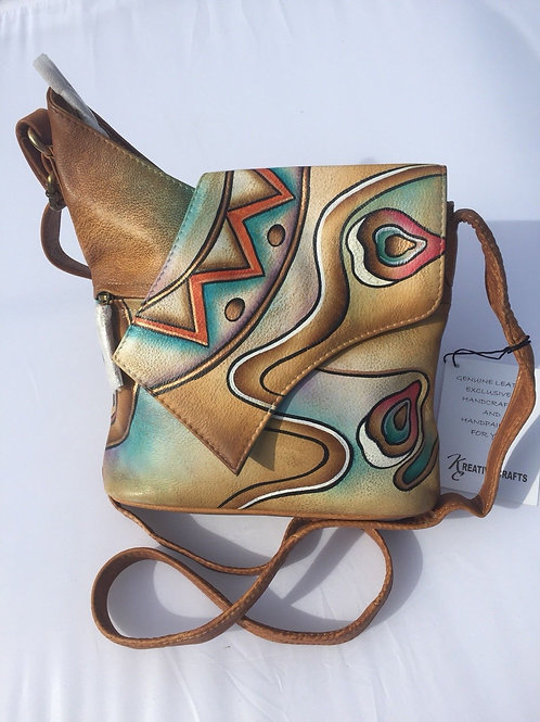 KikiGoga Hand painted leather bag HP 150 Abstract Unique & Rare,Prime Quality