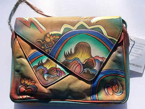 KikiGoga Hand painted leather bag, HP56 Abstract Unique & Rare Prime Quality
