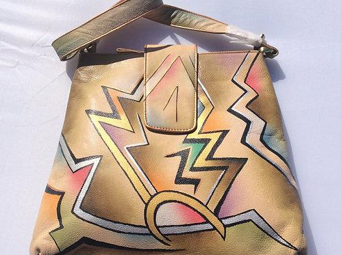 KikiGoga Hand painted leather bag,Hp 1001, Unique and Rare, Prime Quality