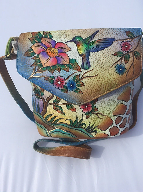 KikiGoga Hand painted leather bag HP 01 Humming Bird Unique & Rare,Prime Quality