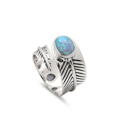Adjustable Opal Leaf Ring (021)