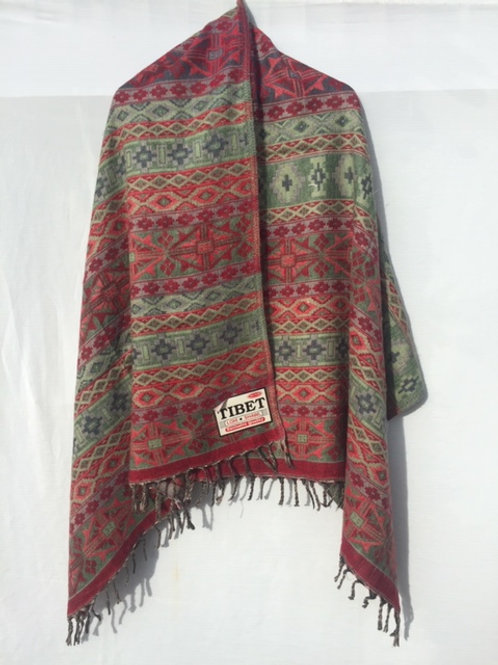 Tibetan Yak wool Shawl Reversible