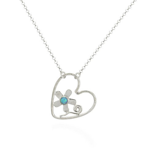 Cable Heart & Opal Necklace (009)