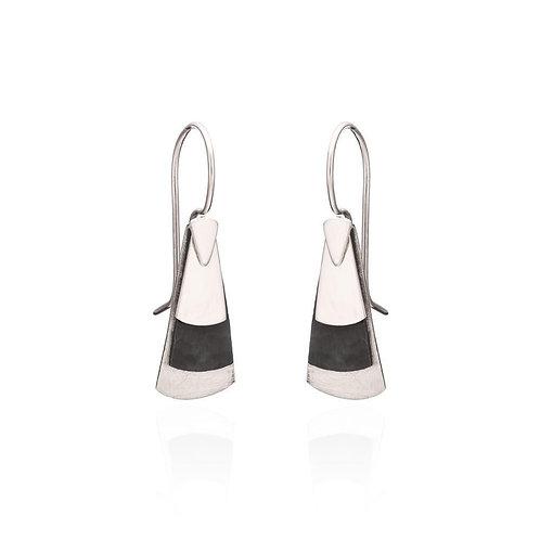 Triangle Shaped, Corroded & Polished Earrings (005)