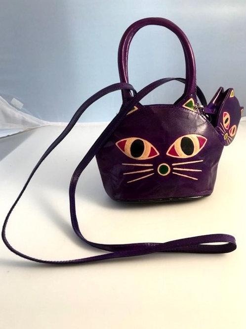 Hand Printed Mini Cat set bag, Purple