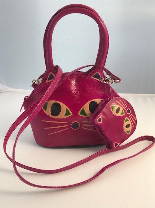 Hand printed cat set bag, Pink