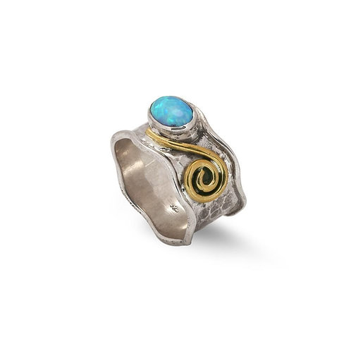 Opal & Golden Whirl Ring (020)