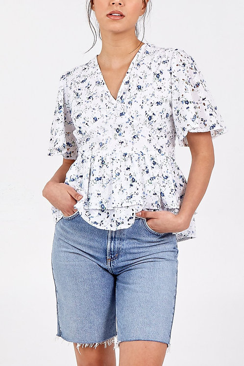 Broidery Blouse with Tie Back