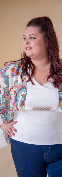White Pattern Kimono Top with Chain Detail