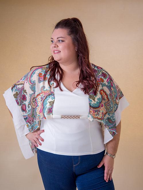 White Pattern Kimono Top