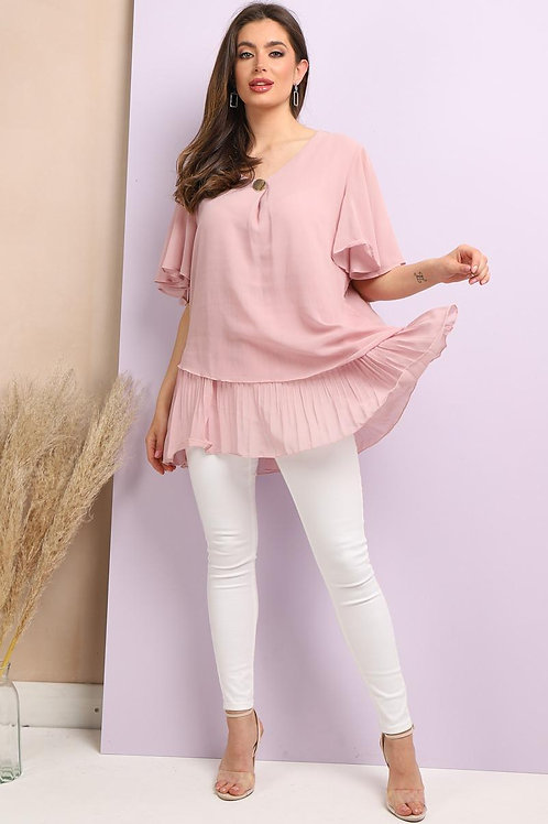 Chiffon Top with Pleat Detail