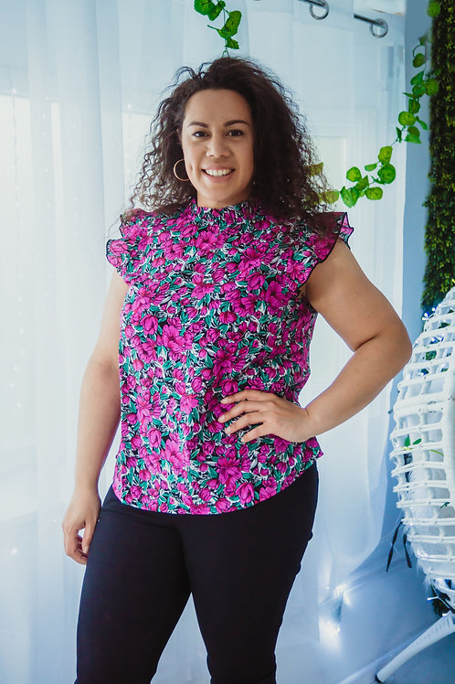 Purple Floral Top with Frill Sleeve