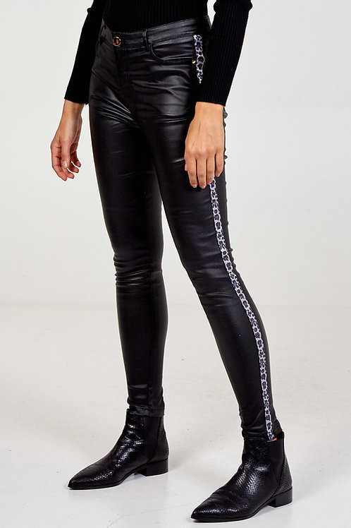 Wet Look Jean with Animal Print Detail