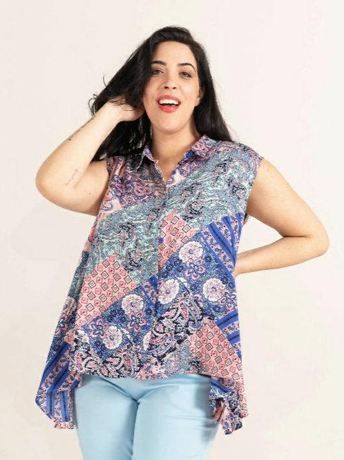 Print Sleeveless Shirt