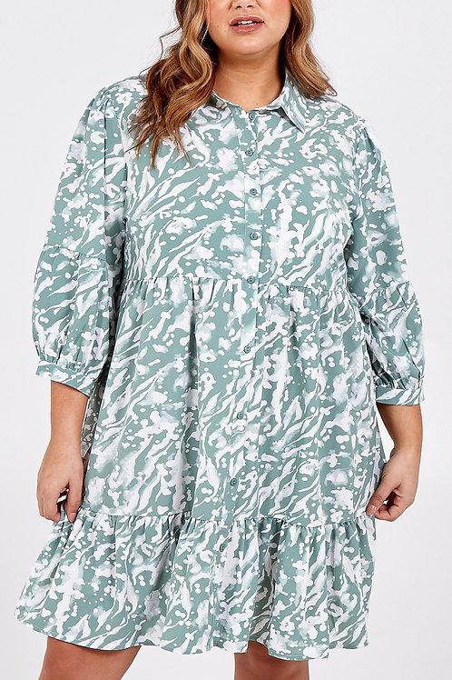 Mint Tiered Shirt Dress