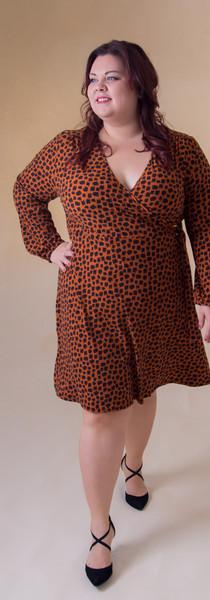 Orange & Black Buckle Wrap Dress