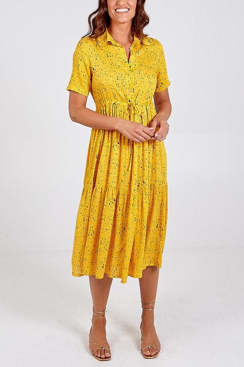 Midi Shirt Dress with Tie Waist