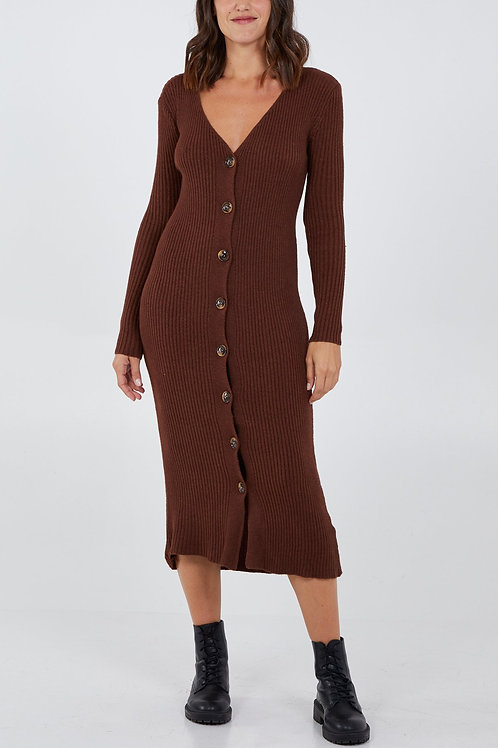Knitted Button Front Dress