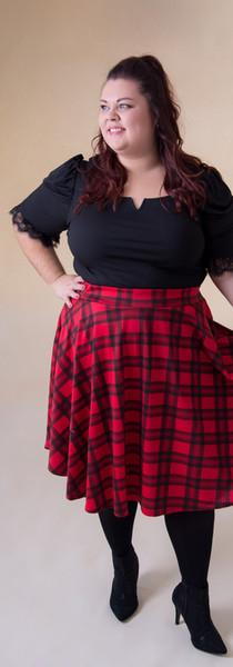 Tartan Skirt & Black Puff Sleeve Top