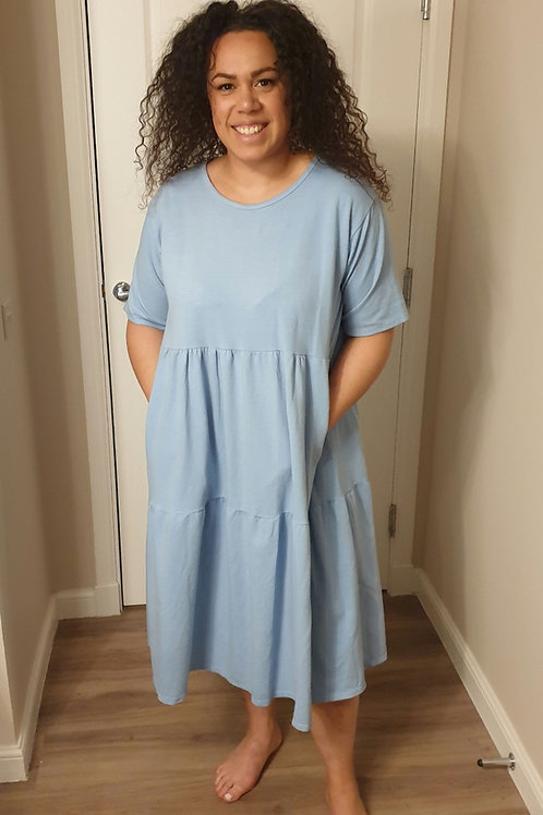 Tiered Dress with Pockets - Short Sleeve