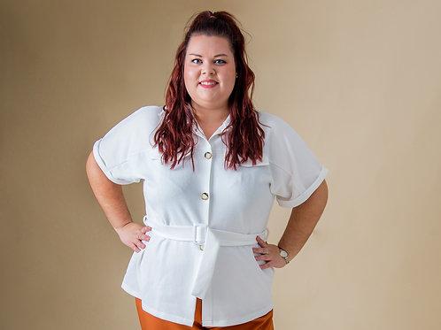 White Waffle Button Shirt