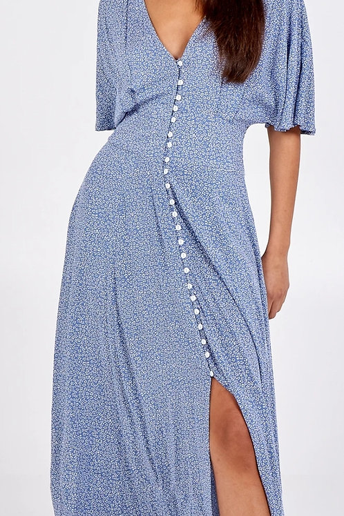 Button Front Midi Dress with Pockets