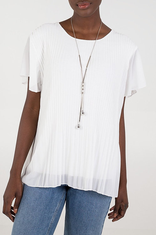 Pleated Front Top with Necklace