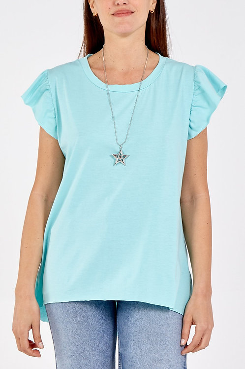 Frill Sleeve T-Shirt with Necklace