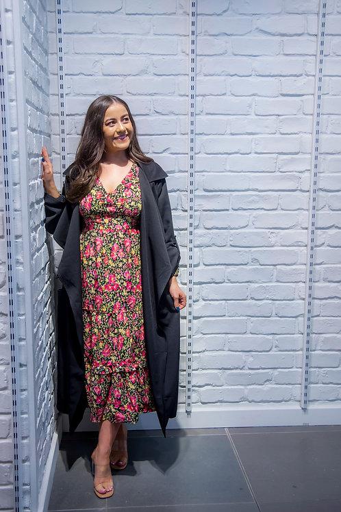 Frill Shoulder Midi Dress