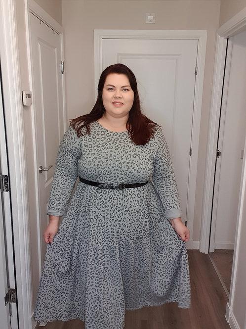 Tiered Midi Animal Print Dress with Pockets
