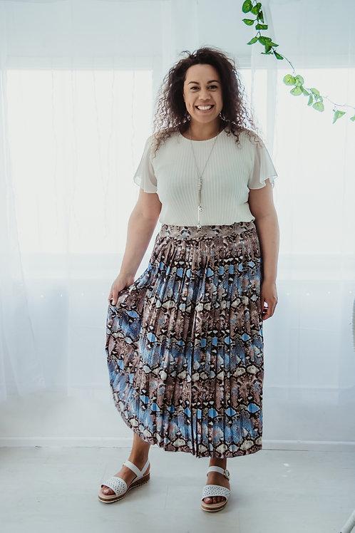 Snake Print Pleated Skirt