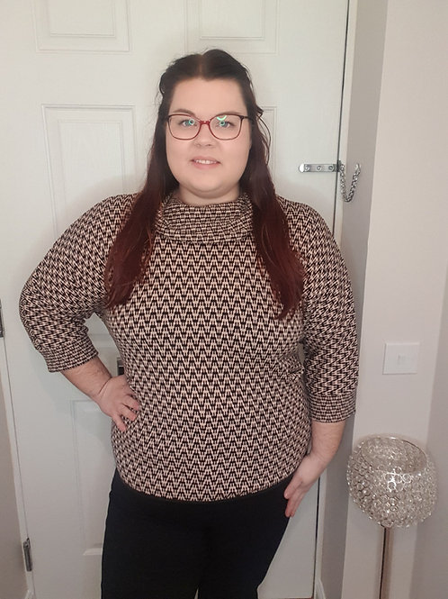 Zigzag Cowl Neck Jumper with 3/4 Sleeves