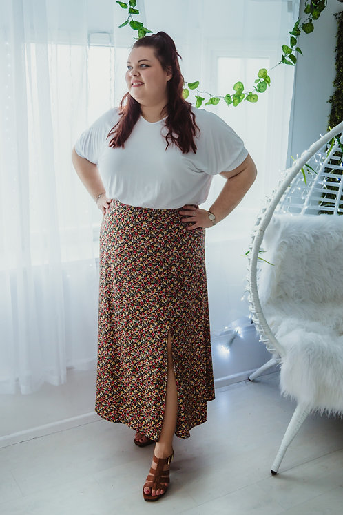 Floral Skirt with Slit