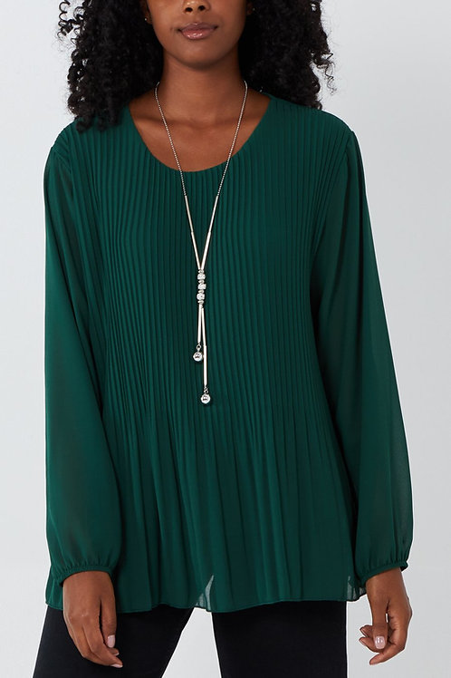 Pleat Front Top with Necklace