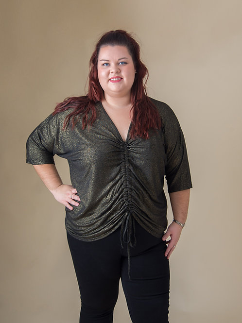 Black & Gold Ruched Top