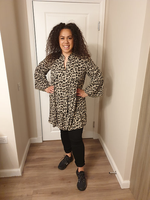Leopard Print Smock Top