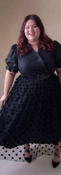 Dress with Mesh Skirt & Puff Sleeve Detail